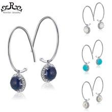 Rinnting 100% Solid Sterling Silver Hoop Örhängen För Kvinnor Med Fin Charms Smycken Kvinnlig Örhänge Bröllopsfest Gift TSE68