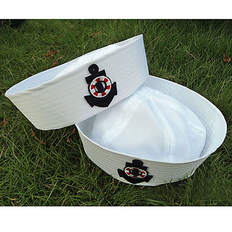 Fashion Fancy Dress Party Costume Cosplay White Sailor Navy Hat Cap With Anchor Props Kids Sailor Costume Man Adult Child Hat JL