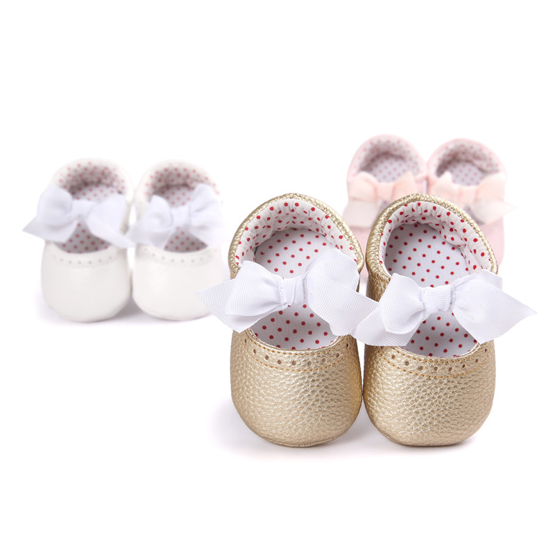 Newborn baby moccasins Babies shoes PU Leather Infant shoes First walkers Toddlers Brand Silk bow girls shoes