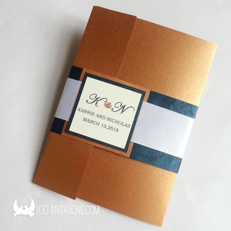 Aliexpress Buy Natural Auburn Pocketfold Wedding Invitations – Pocket Invitation Cards