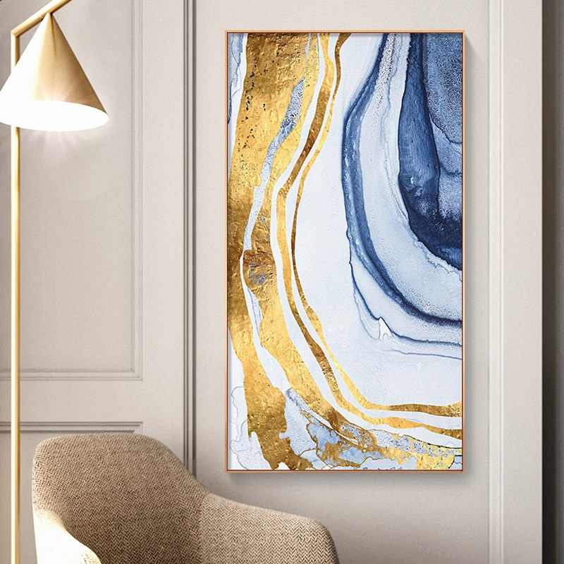 abstract Flowing Color golden canvas painting posters and print modern decor wall art pictures for living room bedroom aisle
