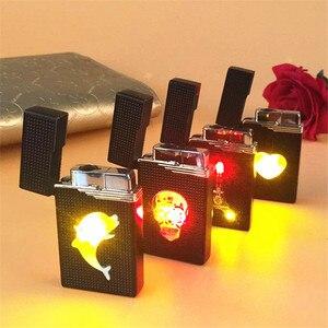 Image 1 - Briquet LED Compact, Jet en Butane, accessoires de torche, allume cigare, coupe vent, gaz 1300 C