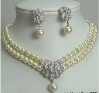 Hot Sale Free Shipping Exquisite Genuine White Pearl 18KWGP Crystal Bridal Necklace Earrings