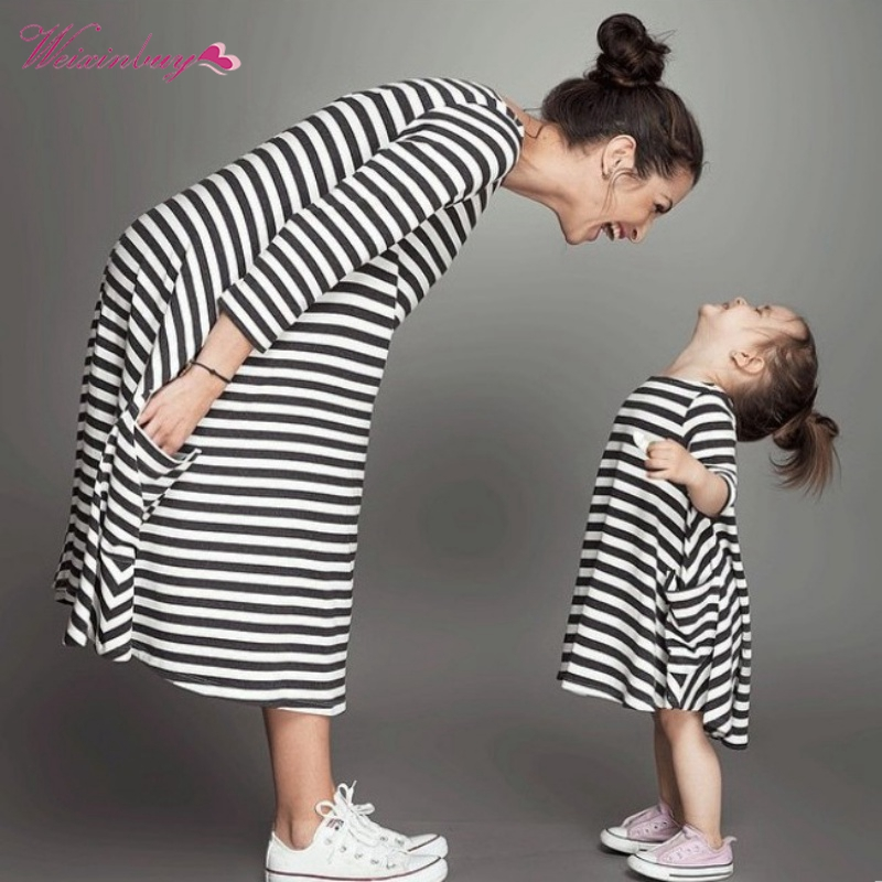 Family Matching Outfits,Baby And Mom Dress Nighty,Girl Dress,Kids Pajamas,Stripe,Mother And Child Dress,Girls Clothing family matters – secrecy