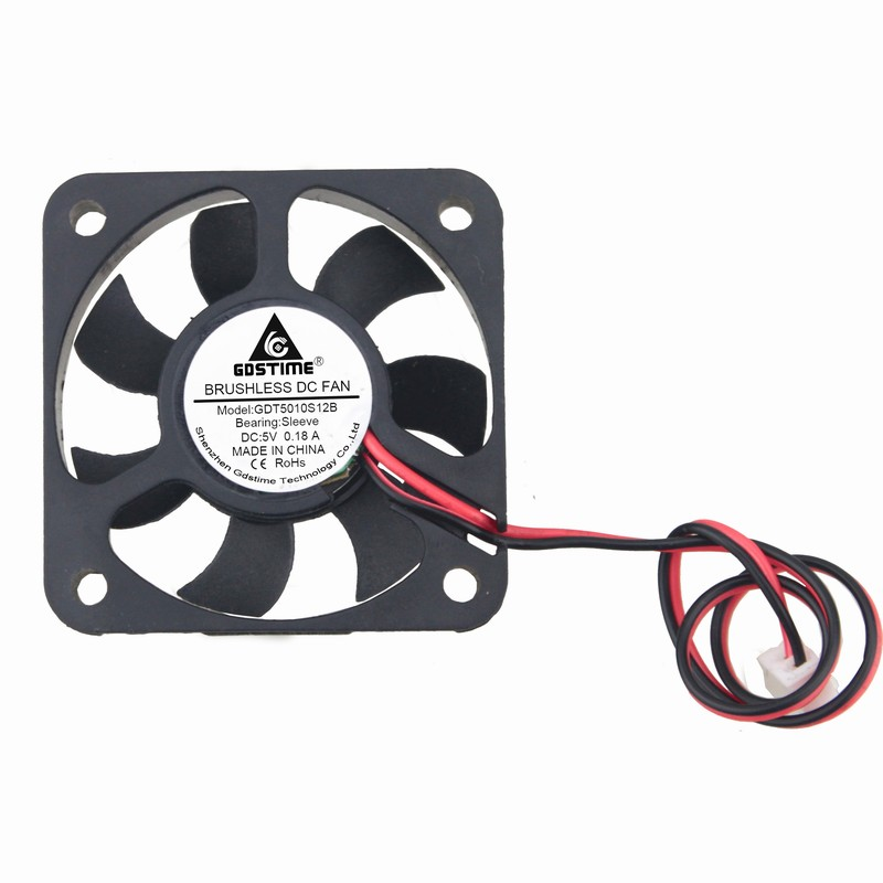 5 Pcs Gdstime DC 5V 2Pin 2.5 Industrial Axial Cooler Cooling Fan 50x50x10mm 50mm x 10mm 5 Volt 5010 7 Blades 2 pcs gdstime tow ball bearing 48v 170mm x 50mm circle cooler metal case industrial dc cooling fan 172mm x 51mm 2pin 17cm 17251