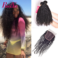 Malaysian Kinky Curly Virgin Hair With Closure Afro Kinky Curly Lace Closure With 3 Bundles Human Hair Bundles With Lace Closure