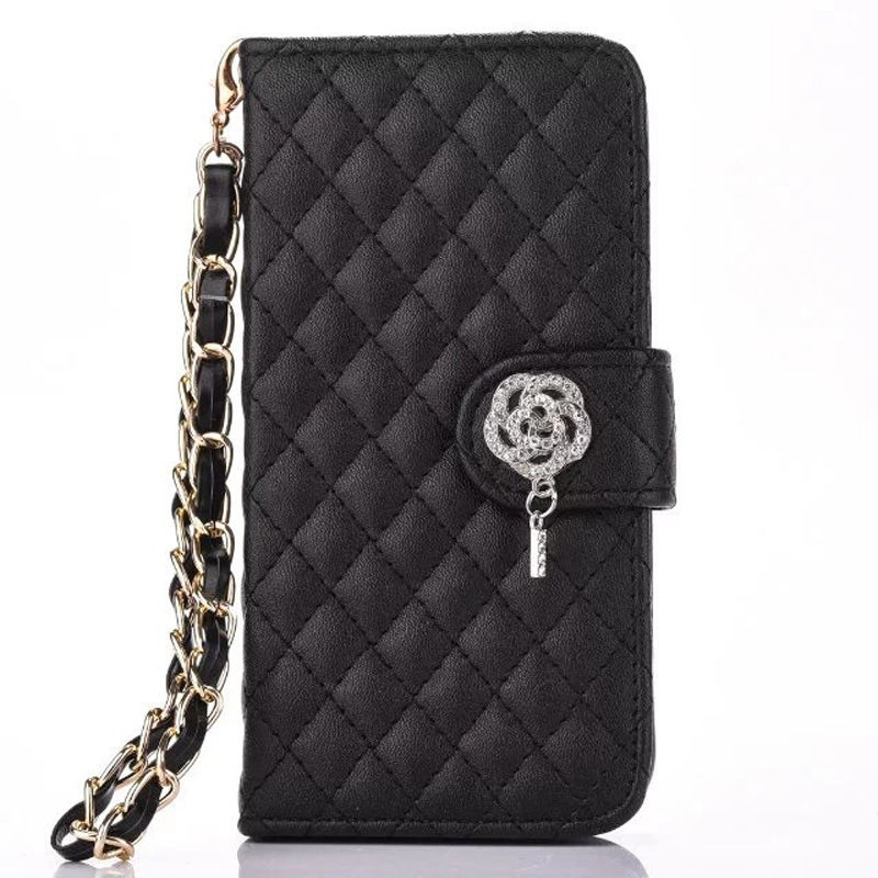 Stylish Rose Diamond PU Leather Lattice Quilted Handbag Style Wristlet Wallet Flip Case Cover for iPhone x 5s se 6 6s 7 8 plus