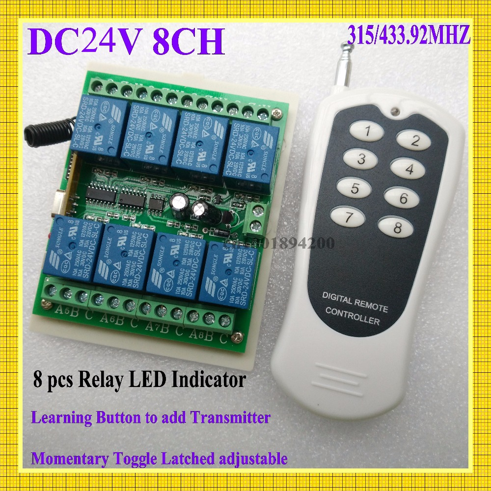 DC 24V 8 CH Relay Remote Switch 315/433Radio RF Wireless Switch Transmitter Receiver Relay LED indicator Learning ASK Smart Home 315 433mhz 12v 2ch remote control light on off switch 3transmitter 1receiver momentary toggle latched with relay indicator