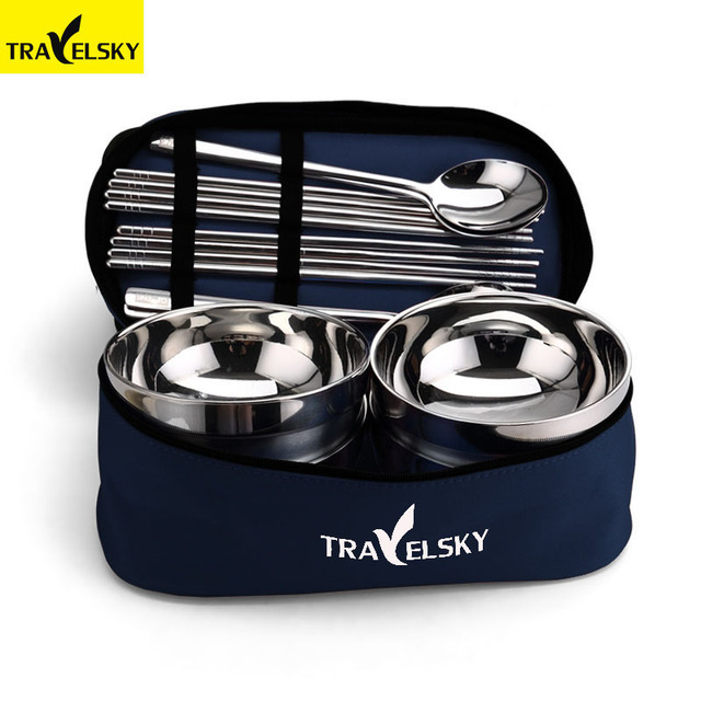 Travelsky 1/2/4 Outdoor Tableware Portable Eco Family Picnic Steel Bowl Spoon Chopsticks Stainless Camping Tablewear Set bags
