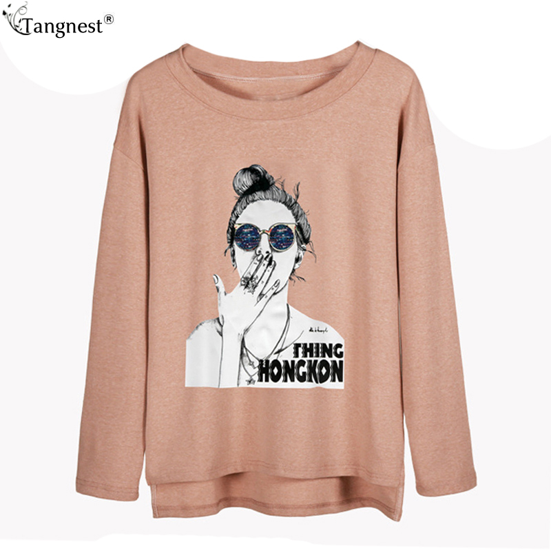 8a19cc7fe0 US $21.8  TANGNEST Character Summer Tops and Tees 2017 Side Split T Shirts  for Women Long Sleeve Cotton Tees White Tops Black Tees WTL1260-in T-Shirts  ...