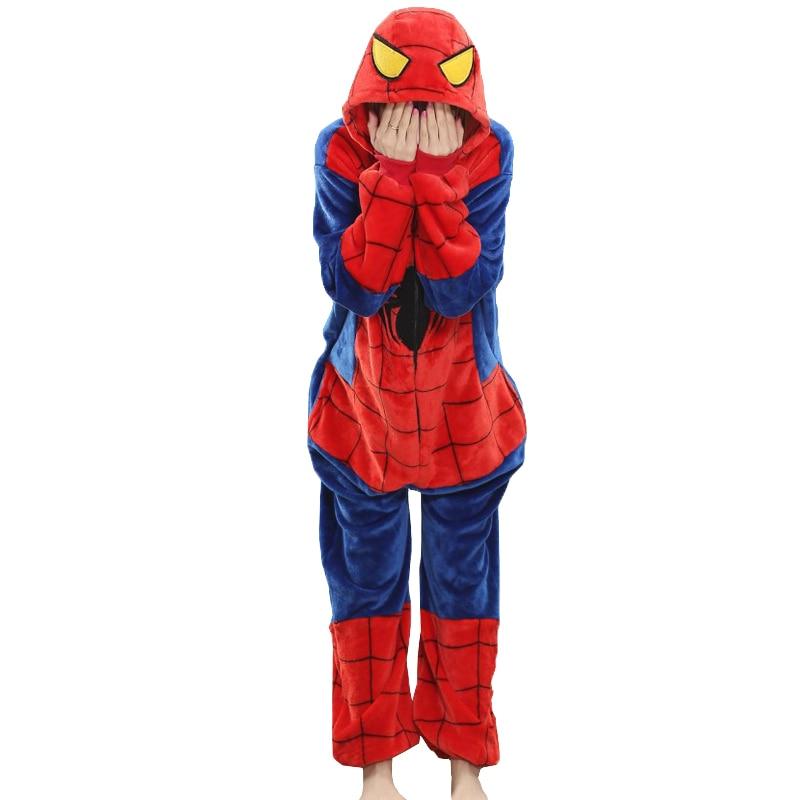Унисекс женские и мужские пижамы костюм Человека-паука взрослых пижамы фланелевые Толстовка Косплэй комбинезон высокого качества человек-...