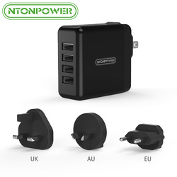 NTONPOWER 4 <font><b>USB</b></font> Universal Mobile Phone Charger Travel Adapter UK/EU/AU/US 34W <font><b>USB</b></font> <font><b>Wall</b></font> Charger for Tablet/<font><b>iPhone</b></font>/Android Phone