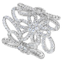 BELLA Genuine 925 Sterling Silver Floral Bridal Ring Silver Plated Clear Cubic Zircon Wedding Ring Size