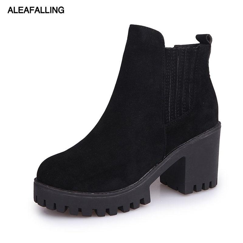 Aleafalling Women Boots Mature Lady Elastic Band Flock Soft Leather Lady Shoes -8541