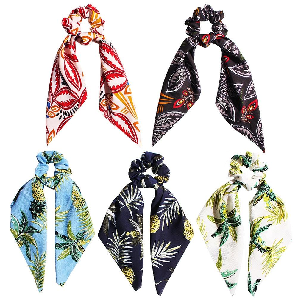 Bohemian DIY Bow Streamers Hair Scrunchies Pineapple Flower Print Ribbon Hair Rope Ties Women Girls Hairbands Hair Accessories