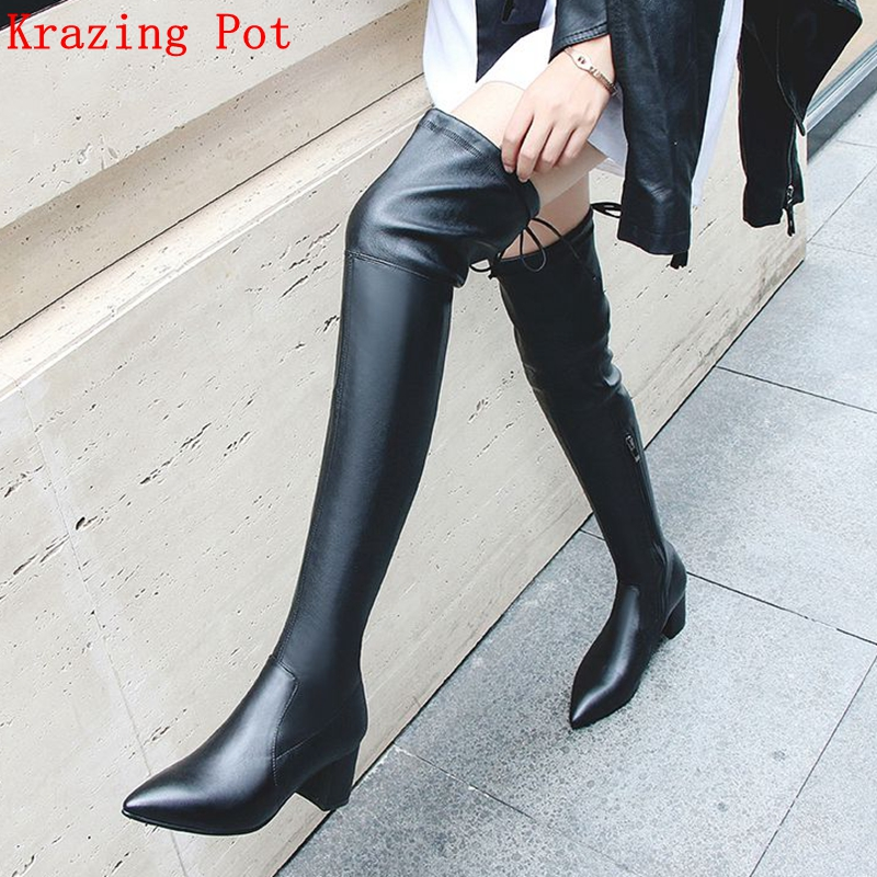 Krazing Pot Winter genuine leather streetwear vintage design pointed toe thin leg stretch boots Chelsea over-the-knee boots L8f3 цена 2017