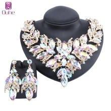 Роскошные Ювелирные наборы с кристаллами и листьями ожерелье