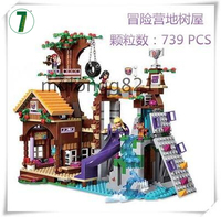 Hot Sale BELA 10497 739Pcs Friends Adventure Camp Tree House Tire Swing Model Building Blocks Girl