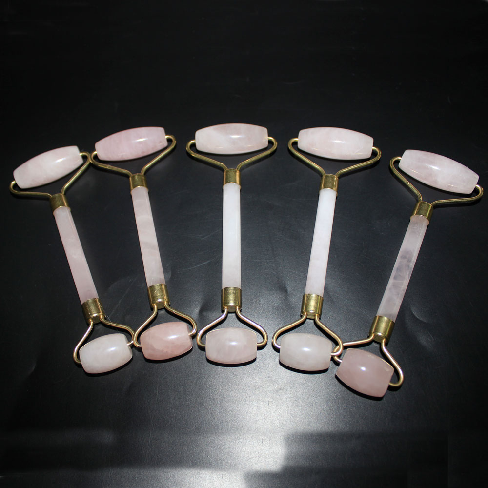 20pcs natural rose quartz Facial Massage Roller Practical Jade Face Anti Wrinkle Body Head Portable Beauty Health Care Tools