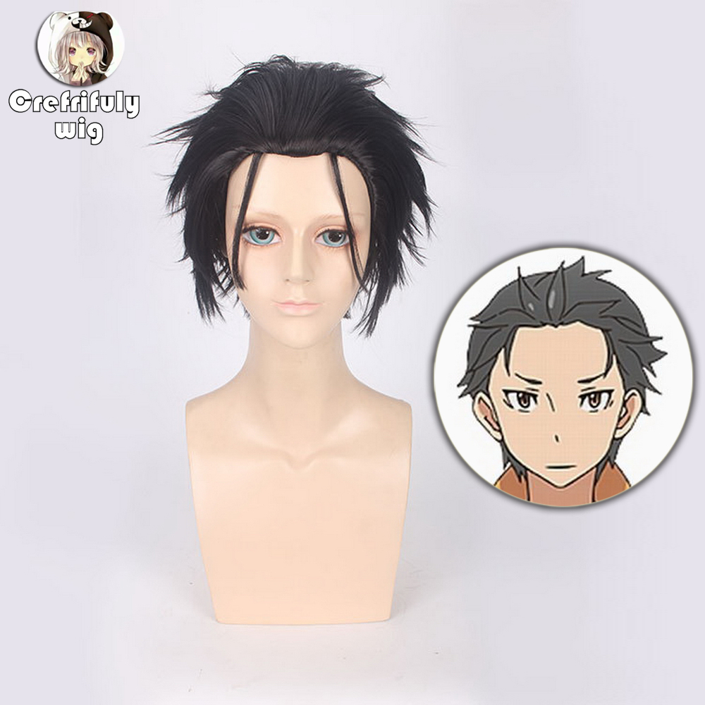 12inch Re Zero Natsuki Subaru Short Black Wig Cosplay Costume Synthetic Hair Wigs For Men Free Shipping in Anime Costumes from Novelty Special Use