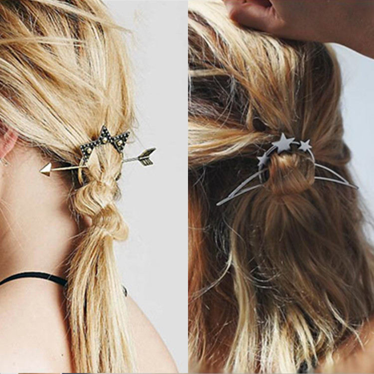 vintage fashion metal tie hair clasp stick styling tools ...