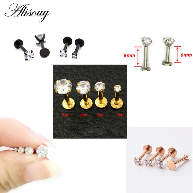 Alisouy 1 cái 16 Gam Bạc Titanium Anodized Nội Threaded Prong Top Gem Labret môi piercing Zircon labret nhẫn Vành bông tai