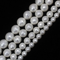 Оптовая продажа 8-14 мм граненые белые жемчужные круглые бусины 15