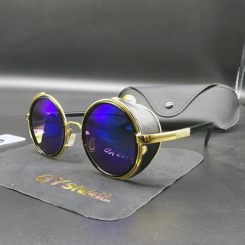 GY mode frauen steampunk sonnenbrille marke designer herren runde sonnenbrille für männliche sonnenbrille vintage sonnenbrille retro Oculos uv