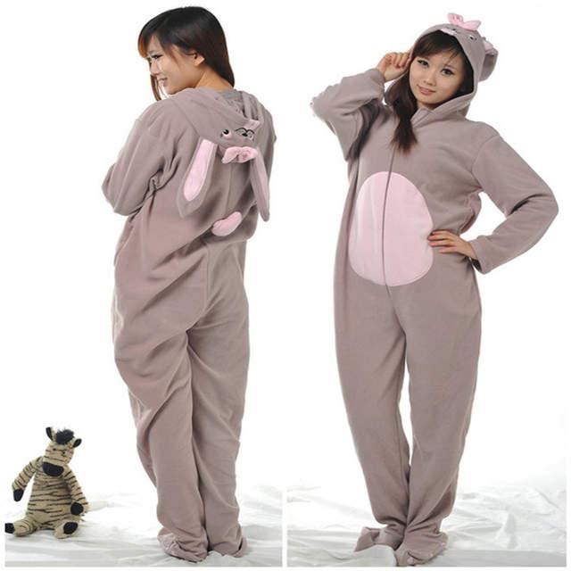 2e338b6faa3 placeholder Women Men Ladies Fleece onesie footed pyjamas for adults Winter  Spring Gray Rabbit Bunny Pajamas Hooded