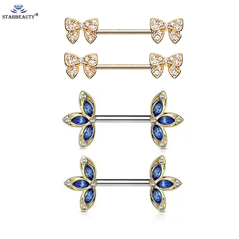 2Pcs New Arrival Gold Color Bow Flower Shape Piercing Shield Bars 14G 316L Surgical Steel Piercing Nipple Piercing for Woman Men ...