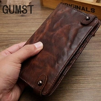 New Handmade Men wallet Men Genuine leather wallet Vintage fold the first layer of sheepskin long section custom hand purse