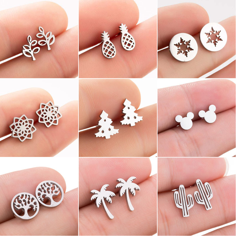 SMJEL Bohemia Mickey Earrings Women Kids Fashion Stainless Steel Leaf Pineapple Flower Stud Earings Tree Jewelry Pendientes