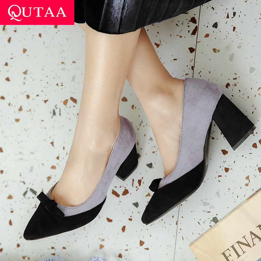 QUTAA 2020 Women Pumps All Match Pointed Toe Women Shoes Platform Pointed Toe Casual Square High Heel Ladies Pumps Size 34-43