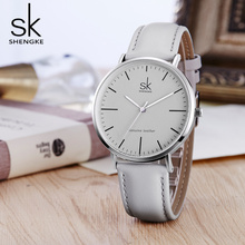 New Shengke 40mm Dial Lady Quartz Watch Green Genuine Leather Casual Stylish Women Watches Gift Box relogio femininoStreet