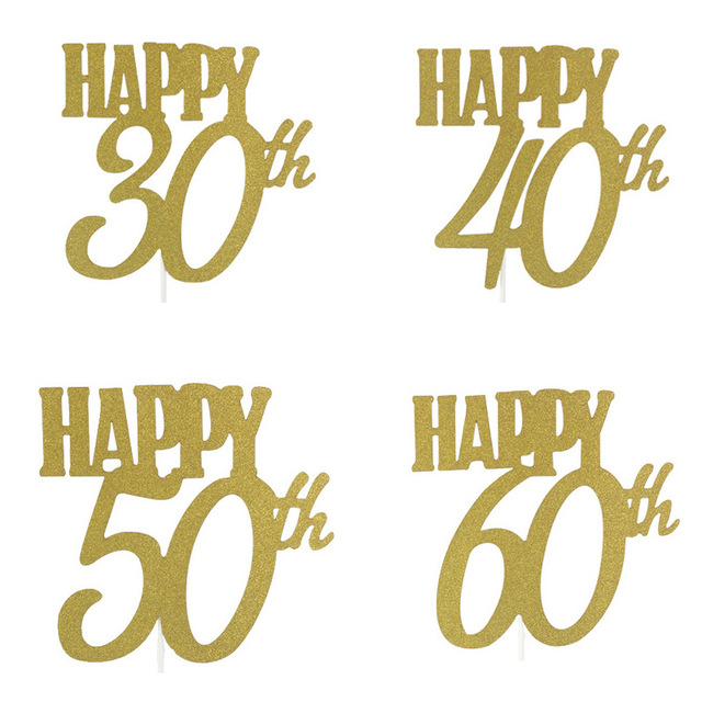1Pcs Gold Happy 30 40 50 60th Birthday Cake Topper Decoration Paper Decorating