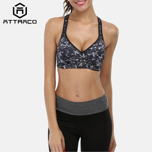 Attraco Women Sports Bra Mid Impact Support Backcross Yoga Running Workout Underwear Fitness Top