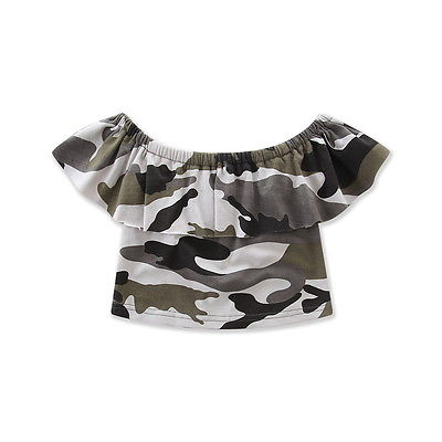2017 Summer Kids Camouflage Clothes Toddler Baby Girls Short Sleeve Off Shoulder Tops Hole Jeans Pants Denim Outfits 1-7T