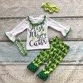 Ребенок Ул. Мартин день вы мило одежду девушки Весной костюм зеленая рубашка хлопка ацтеков печати брюки с подходящие аксессуары