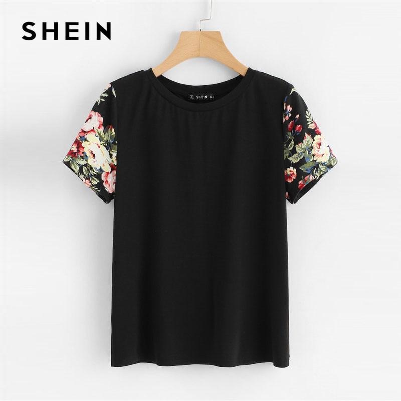 d635f67de SHEIN Black Floral Print Sleeve Women Casual Tee O-neck Short Sleeve Tops  Summer 2019
