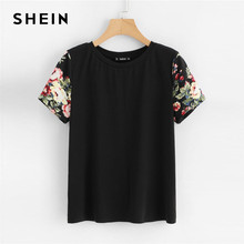 SHEIN Black Floral Print Sleeve Women Casual Tee O-neck Short Sleeve Tops Summer 2019 Weekend Casual T Shirts Female Clothes