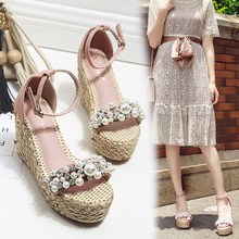 d32b2bbec Cuñas sandalias mujeres perla cristal tachonado plataforma pescador zapatos  verano femenino chanclas paja punto sandalias de