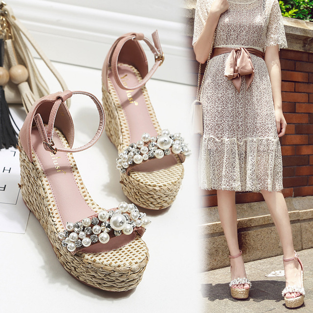 5ecf3341fd0 wedges sandals women pearl crystal studded platform shoes fisherman shoes  female summer flipflops straw knitted open