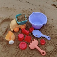 Summer Beach 11 Piece Set Of Soft Plastic Toy Truck Spoon Shower Bucket Dig Sand Play
