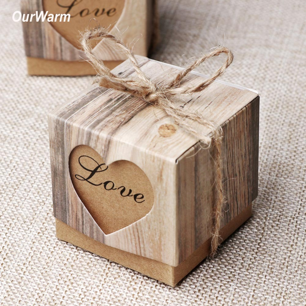 OurWarm 10Pcs Love Candy Box Romantic Heart Kraft Paper Gift Bag With Burlap Twine Chic Wedding Favors Gift Box Supplies 5x5x5cm