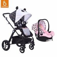 Babysing Высокая Пейзаж Детские Коляски с Автокресло Travel System Легкий Фолд Детская Коляска и Коляска с Люльки Ткани Набор