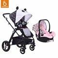Babysing alta paisagem carrinhos de bebê com assento de carro sistema de viagem fácil dobrar carrinho de bebê e carrinho de bebê com berço conjunto tecido