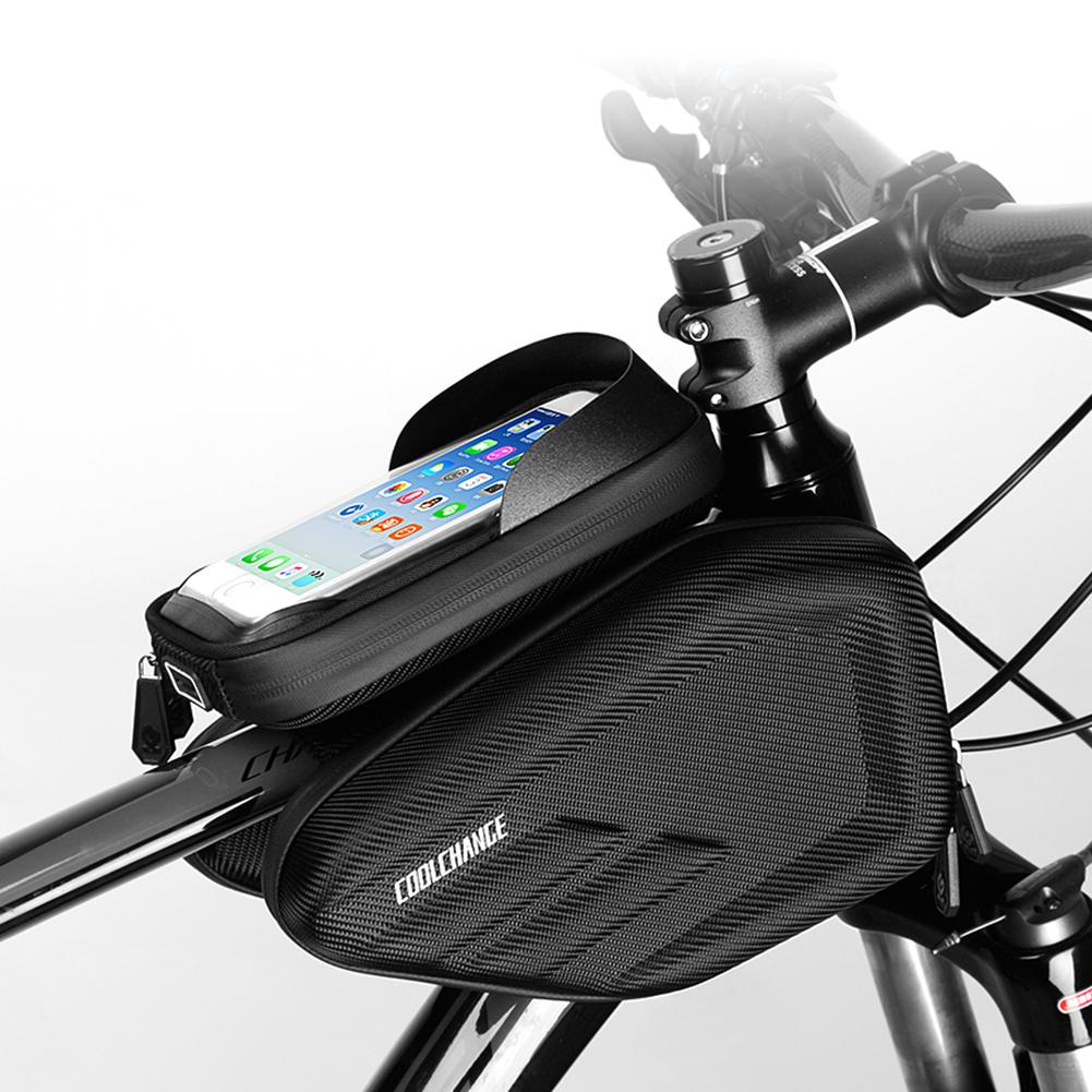 """Bicycle Bike Front Frame Bag Pannier Double Pouch for 6.2/"""" Phone Smartphone"""
