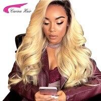 Карина волосы Ombre 1b/613 Цвет Синтетические волосы на кружеве человеческих волос парики с ребенком волос бразильский Волосы remy предварительно