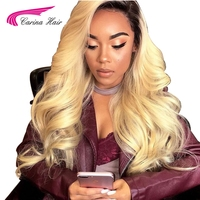 Carina Hair Ombre 1b/613 Color Lace Front Human Hair Wigs With Baby Hair Brazilian Remy Hair Pre Plucked Natural Hairline