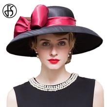 FS verano señoras boda sombrero para mujeres grandes Brim negro Fedora  sombrero banquete sombreros Kentucky Derby 6b9144846dfc